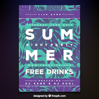 Summer party poster palm tree design