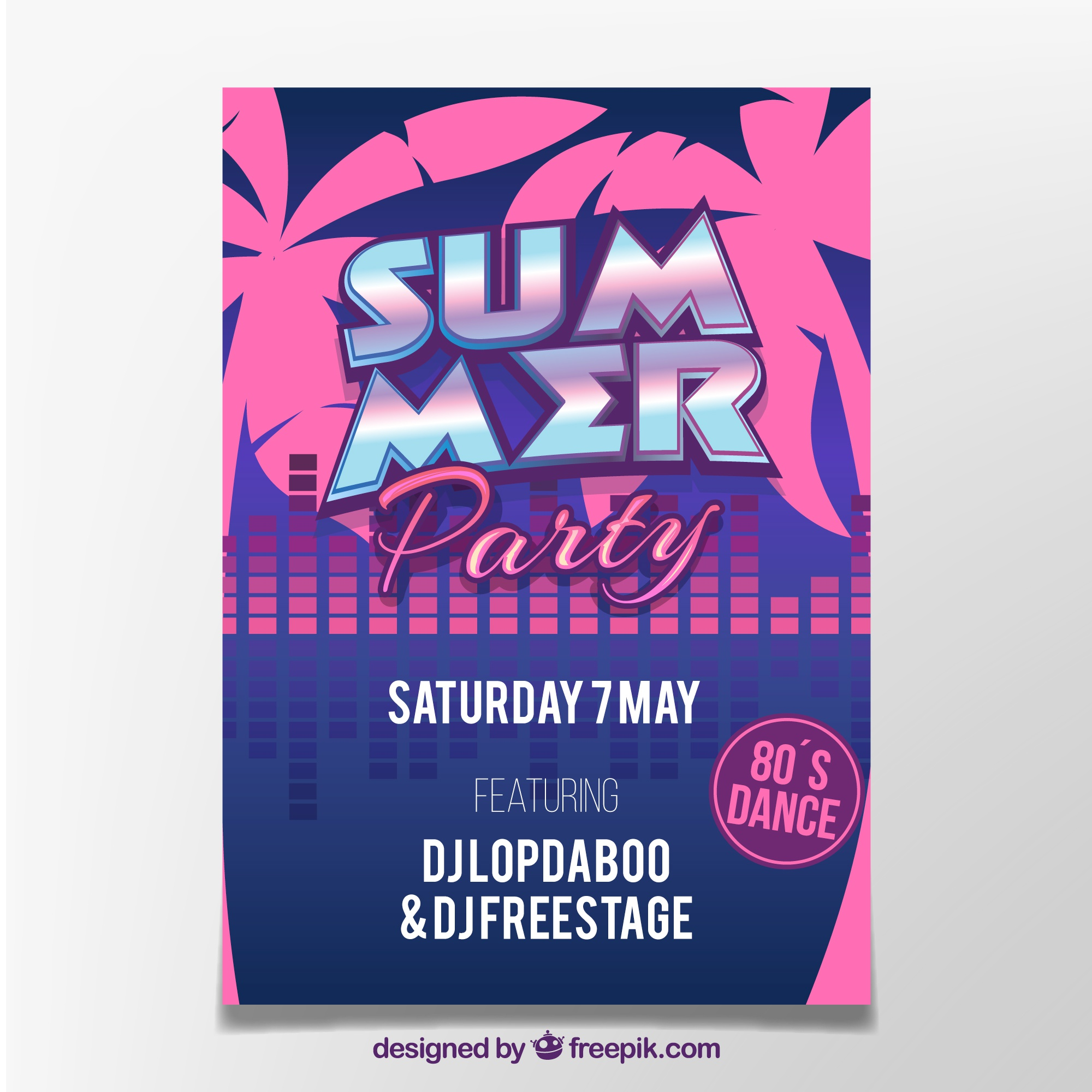 Summer party poster pink palm tree design