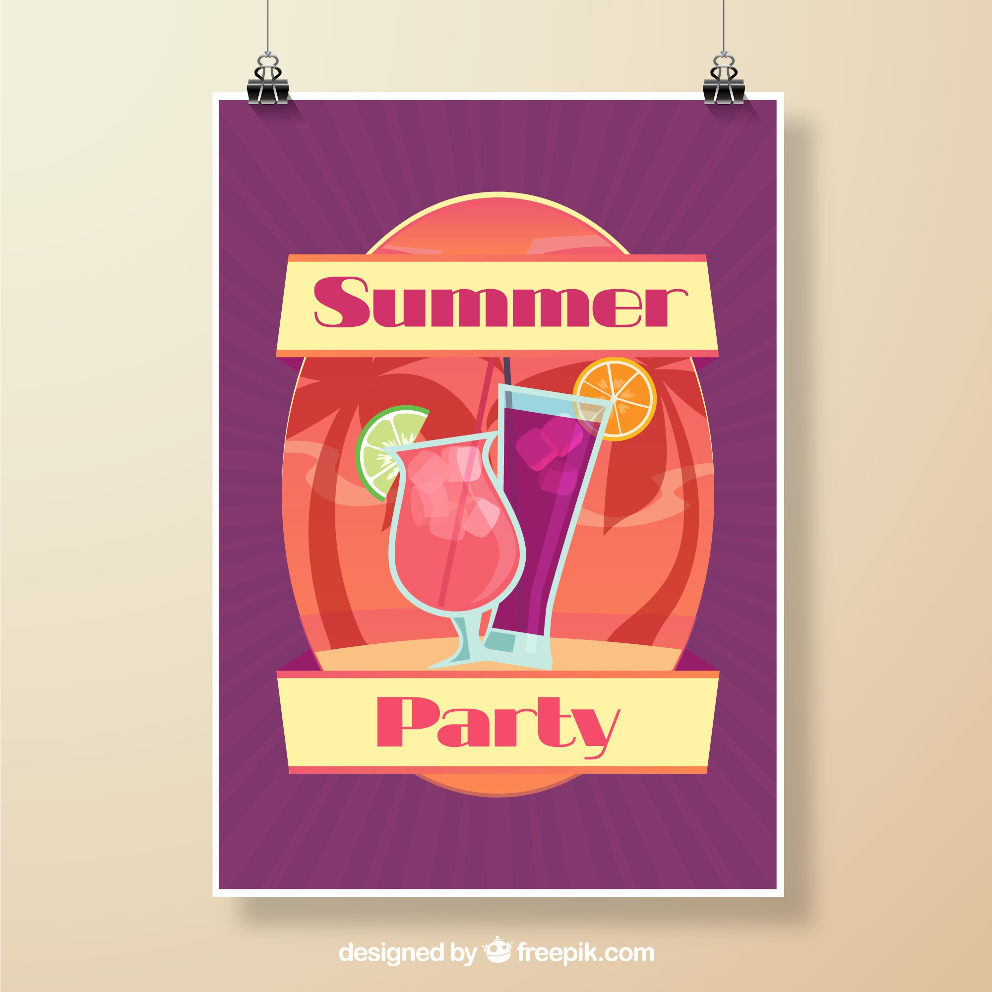 Summer party poster purple design