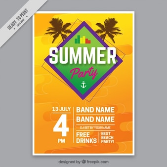 Summer party poster template with palm trees