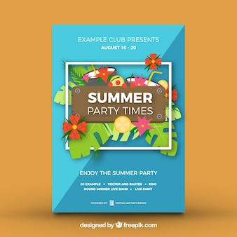 Summer party poster tropical design