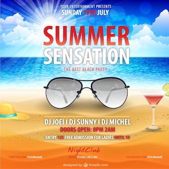 Summer party poster with aviator sunglasses
