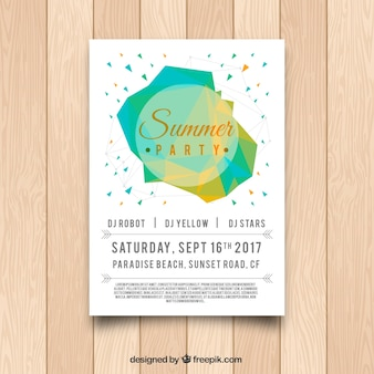 Summer party poster with geometric shapes
