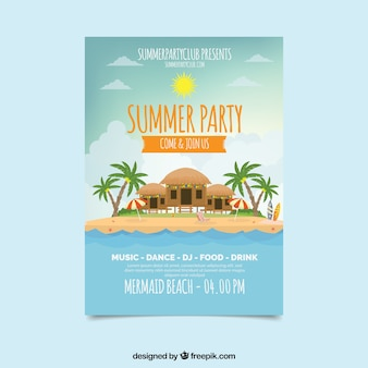 Summer party poster with idyllic island
