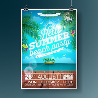 Summer party poster with palm trees