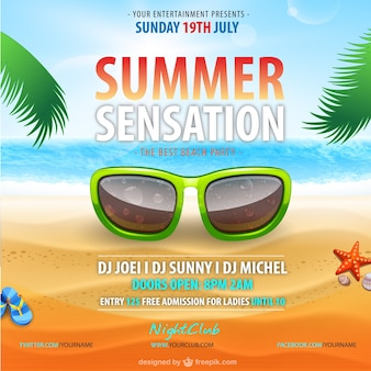 Summer party poster with sunglasses