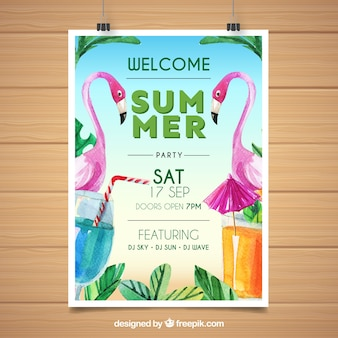 Summer party poster with watercolor flamingos