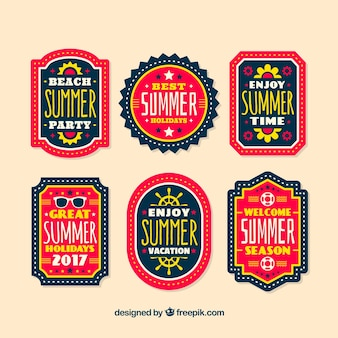 Summer party retro stickers