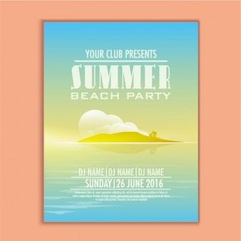 Summer party template with decorative island