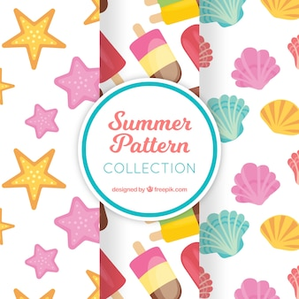 Summer pattern collection on white backgroun