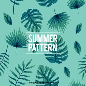 Summer pattern with decorative palm leaves
