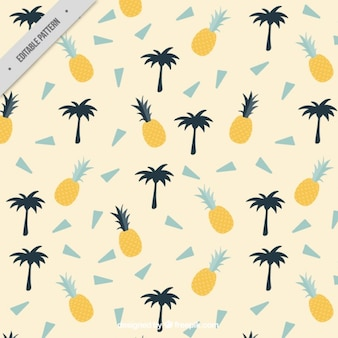 Summer pattern with palm trees and pineapples