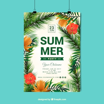 Summer poster palm tree design