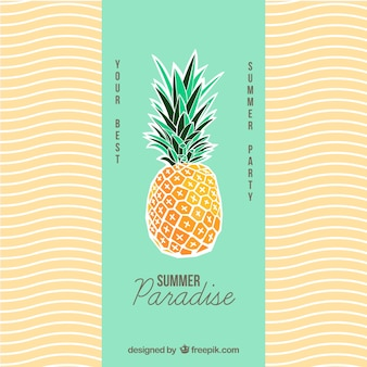 Summer poster with a pineapple