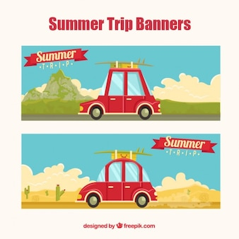 Summer road trip banners