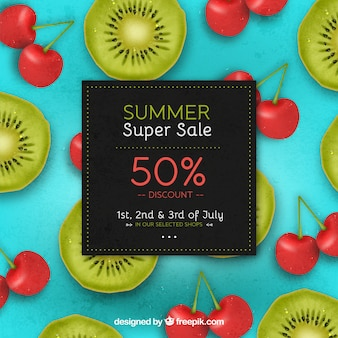 Summer sale background with kiwi and cherry