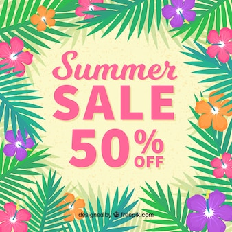 Summer sale background with palm leaves and flowers