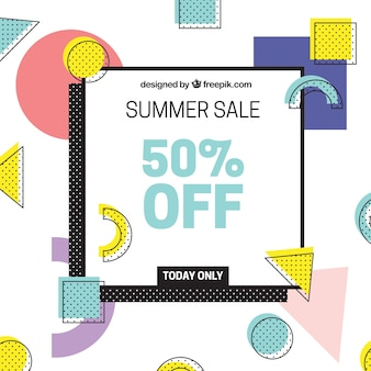 Summer sale background with shapes in memphis style