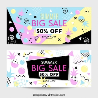 Summer sale banners with memphis elemets