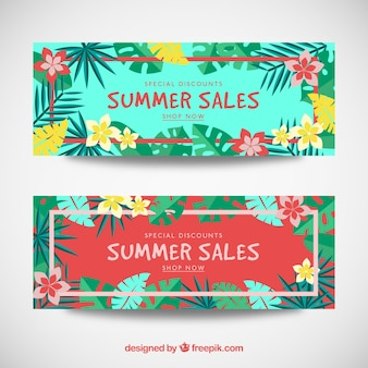 Summer sale banners with tropical leaves