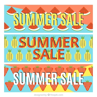 Summer sale banners with watermelon and pineapples