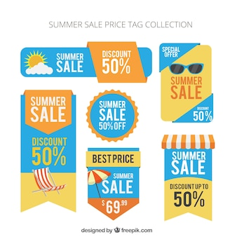 Summer sale price tag collection, full color