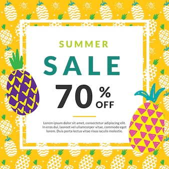 Summer sale template with pineapple