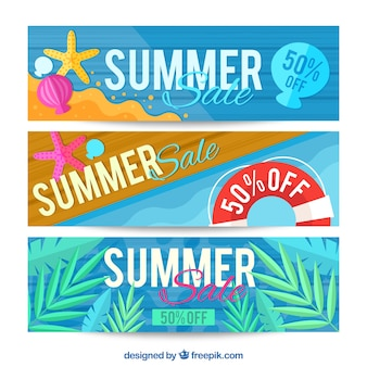 Summer sales, full color banners
