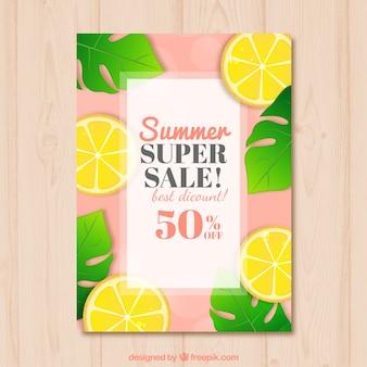 Summer sales brochure with painted lemons