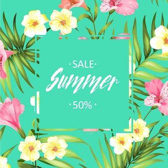 Summer sales floral background