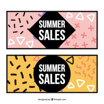 Summer sales hand painted shapes banners