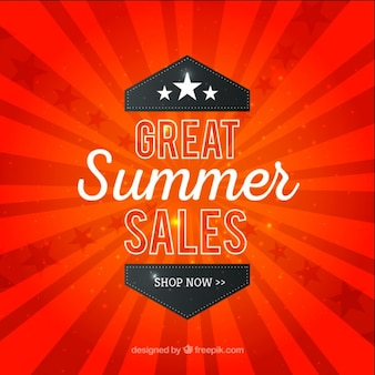 Summer sales on a red sunburst background