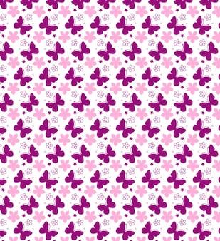 Summer seamless pattern with butterflies
