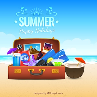Summer suitcase background