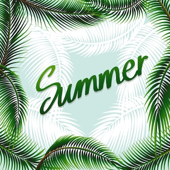 Summer theme background with green leaves illustration