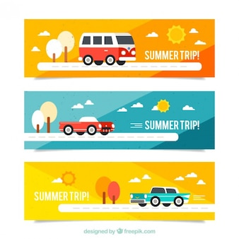 Summer trip banners with transports