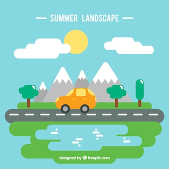 Summer trip landscape in flat design background