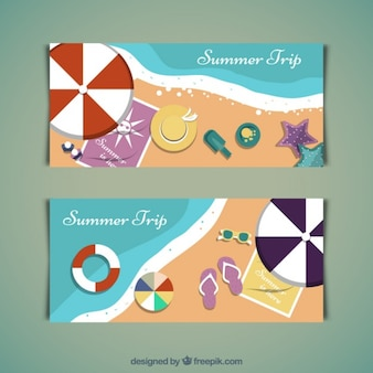 Summer trip on the beach banners