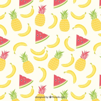 Summer tropical fruits pattern