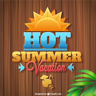 Summer vacation logo wooden texture