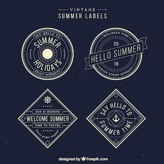 Summuer stickers in vintage style