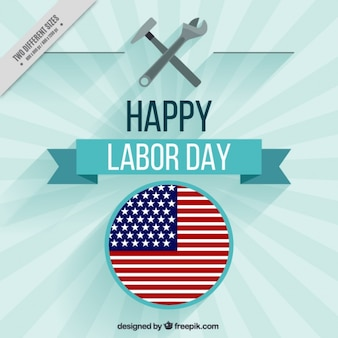 Sunburst background with american flag of labor day