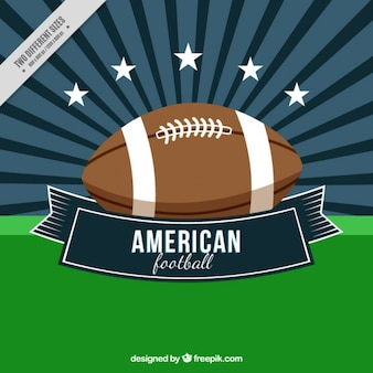 Sunburst background with american football ball