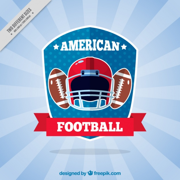 Sunburst background with american football elements in flat design