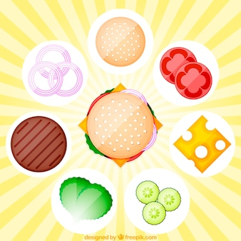 Sunburst background with burger and tasty ingredients