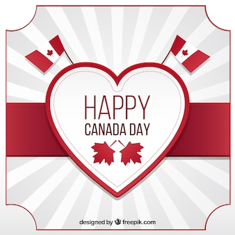 Sunburst background with decorative heart for canada day