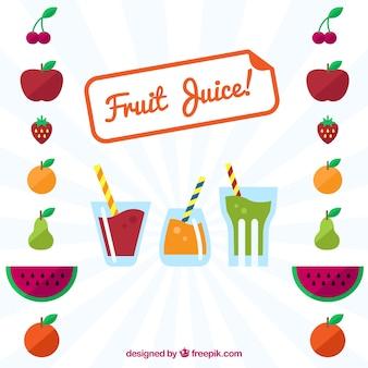 ジュースや装飾フルーツと太陽の背景