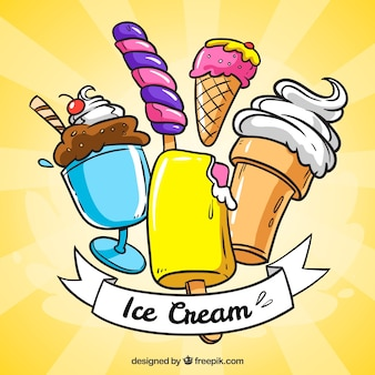 Sunburst background with tasty ice creams in hand-drawn style