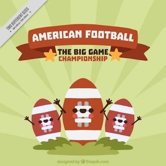 Sunburst background with three american football balls smiling