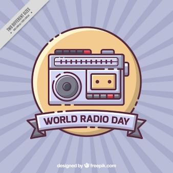 Sunburst background with vintage radio in flat design